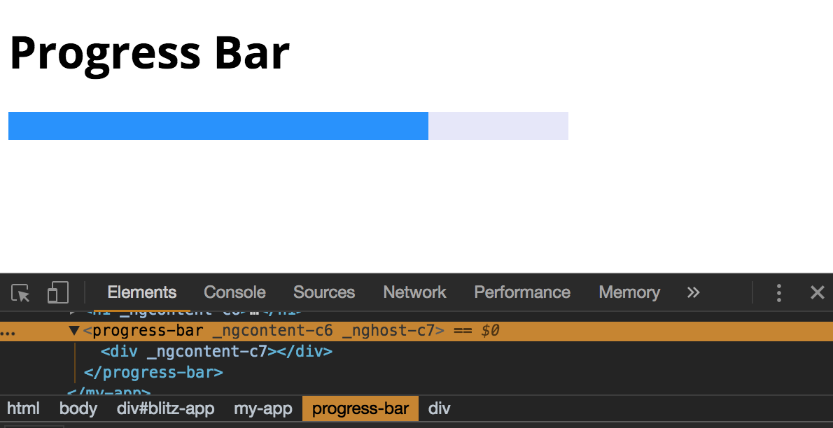 The browser renders the element with a width and background-color styles