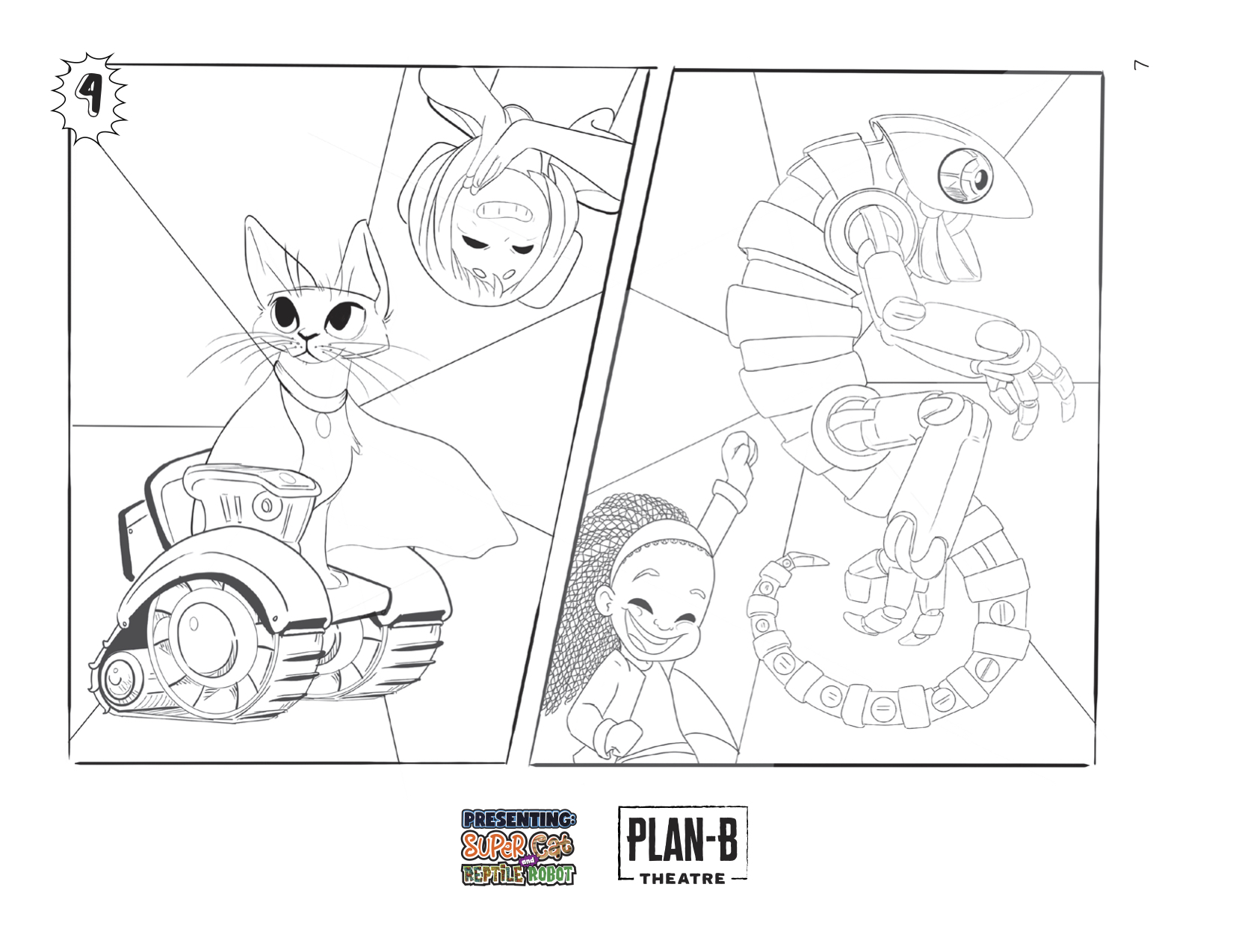 PRESENTING: SUPER CAT & REPTILE ROBOT coloring page with all female cast.