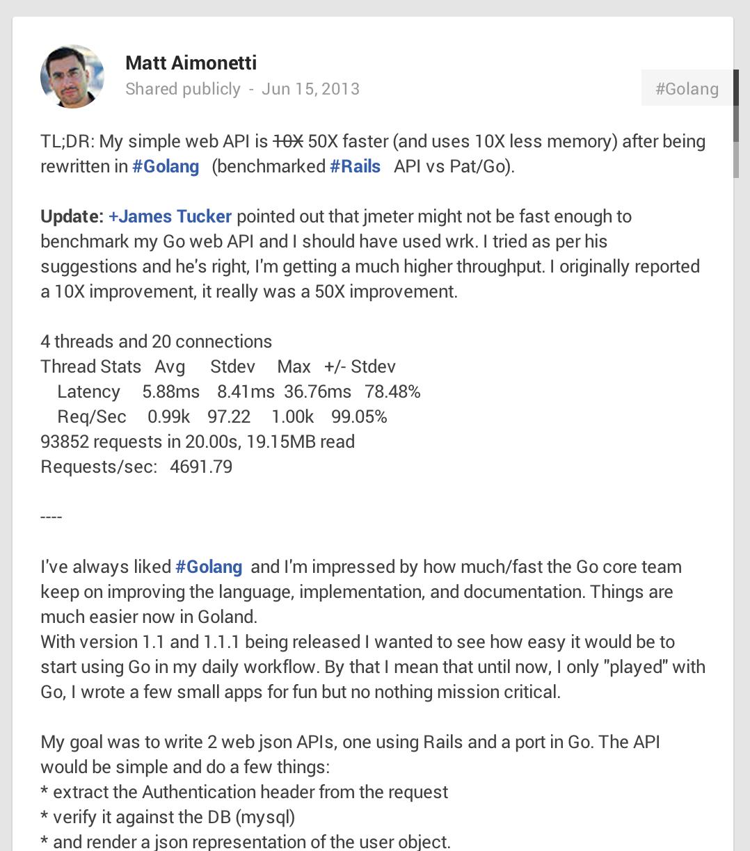 Matt Aimonetti's Go vs Ruby post on Google+