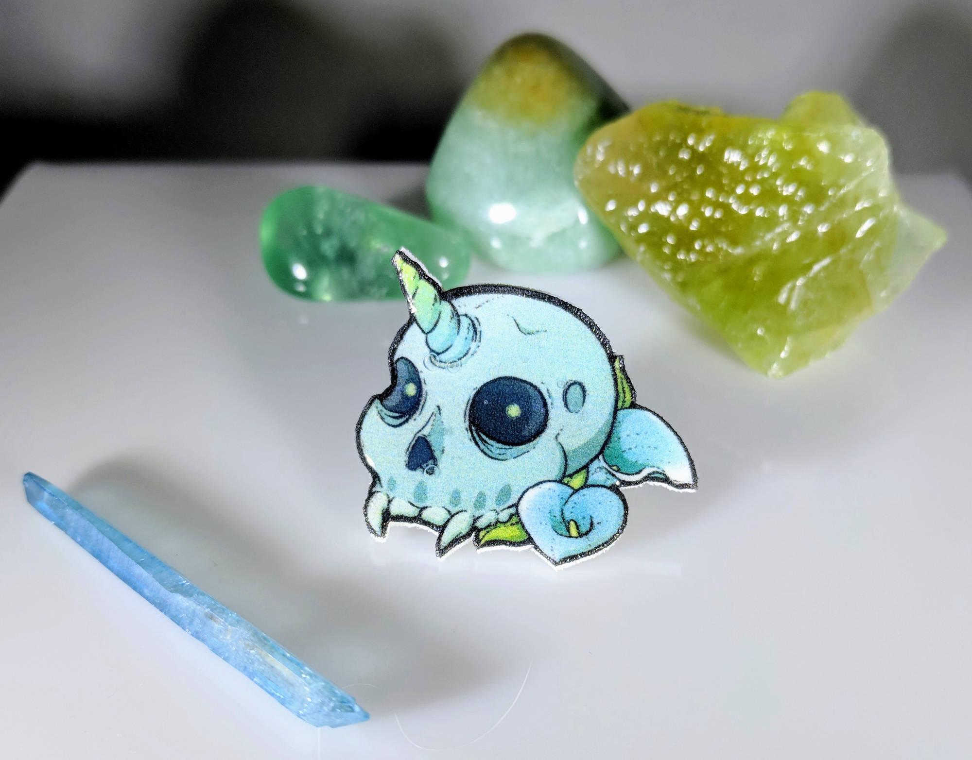 Blue Skull Pin