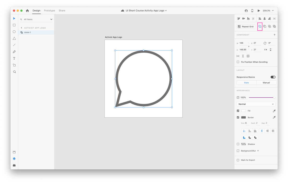 Increasing border width in Adobe XD