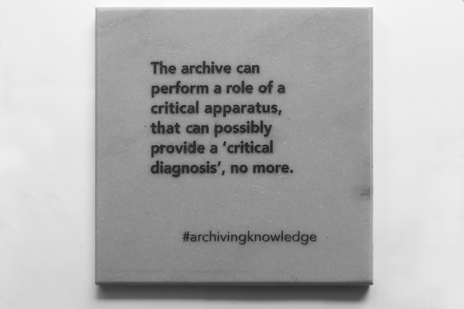 The archive can perform a role of a critical apparatus, that can possibly provide a 'critical diagnosis' no more, From the series: Archiving Knowledge, hand engraved marble, 2018