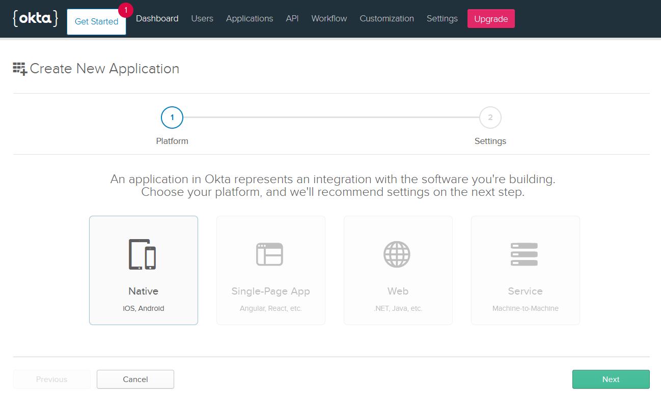 Okta native app selection