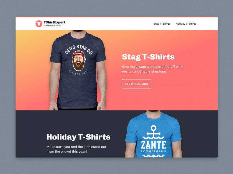 screenshot of the TShirtExpert homepage