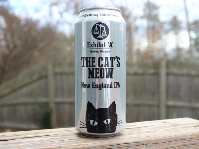 The Cat's Meow, a New England IPA brewed by Exhibit A Brewing