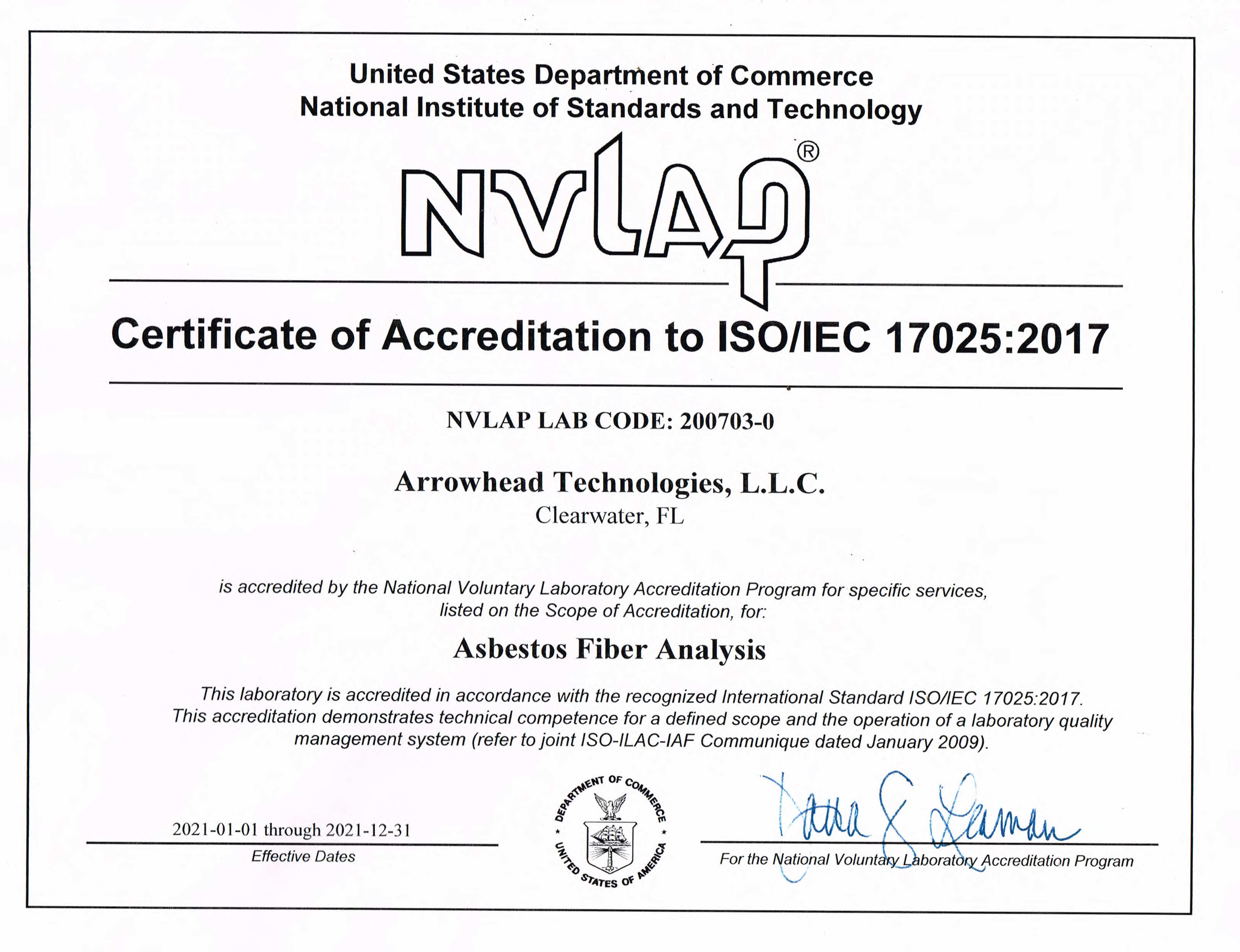 NVLAP Certificate of Accreditation