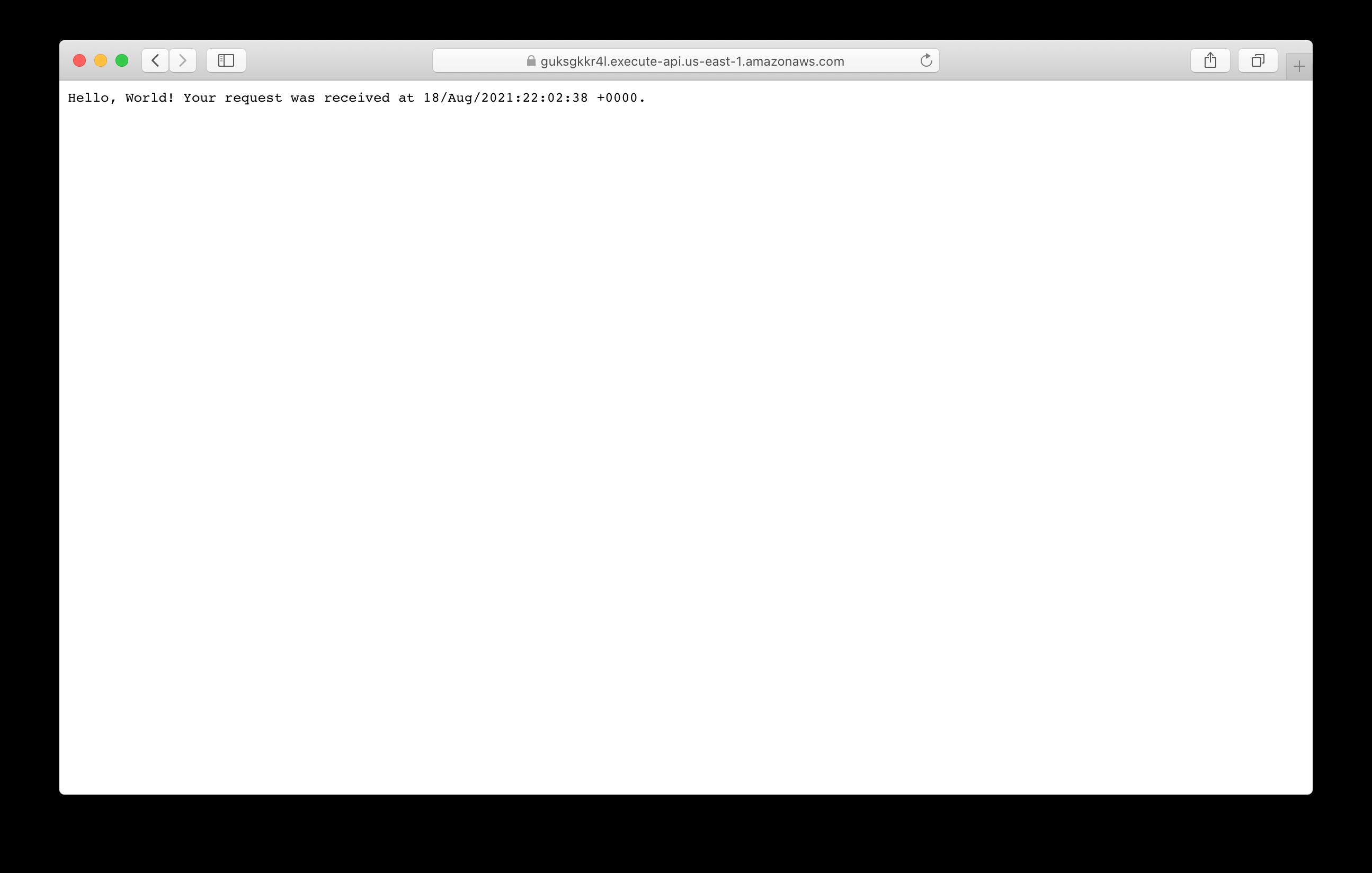 Serverless Hello World API invoked
