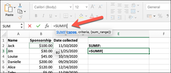 "A worksheet in Microsoft Excel with the ""SUMIF"" formula typed into the formula bar"
