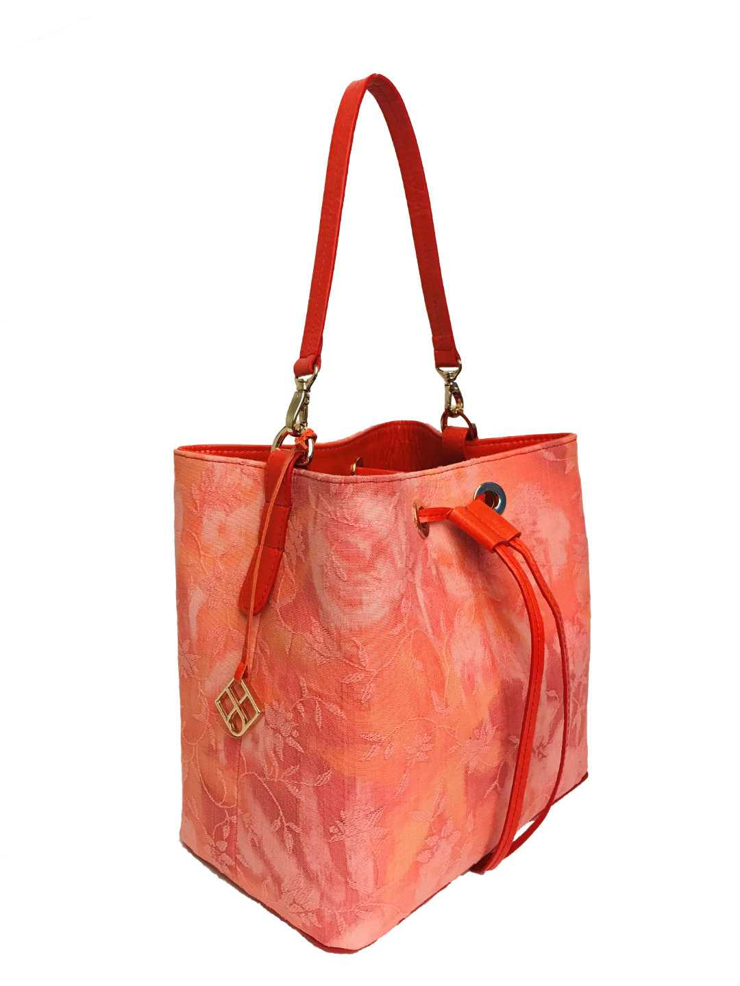 Alya Bucket Small Textile - coral, patterned