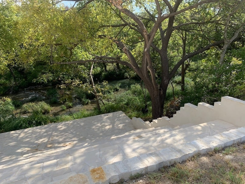 Outdoor steps to the concho river at Chapel Falls