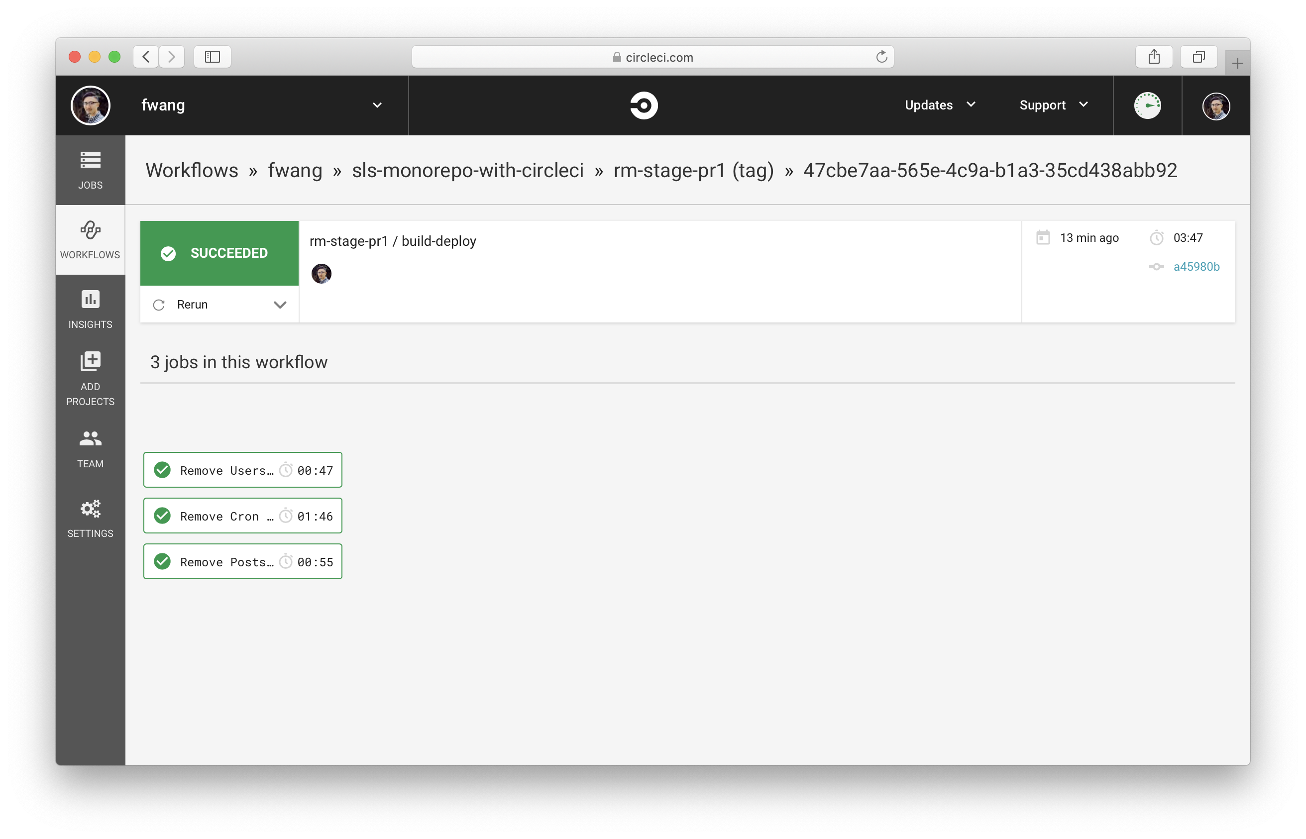View remove services Workflow in CircleCI