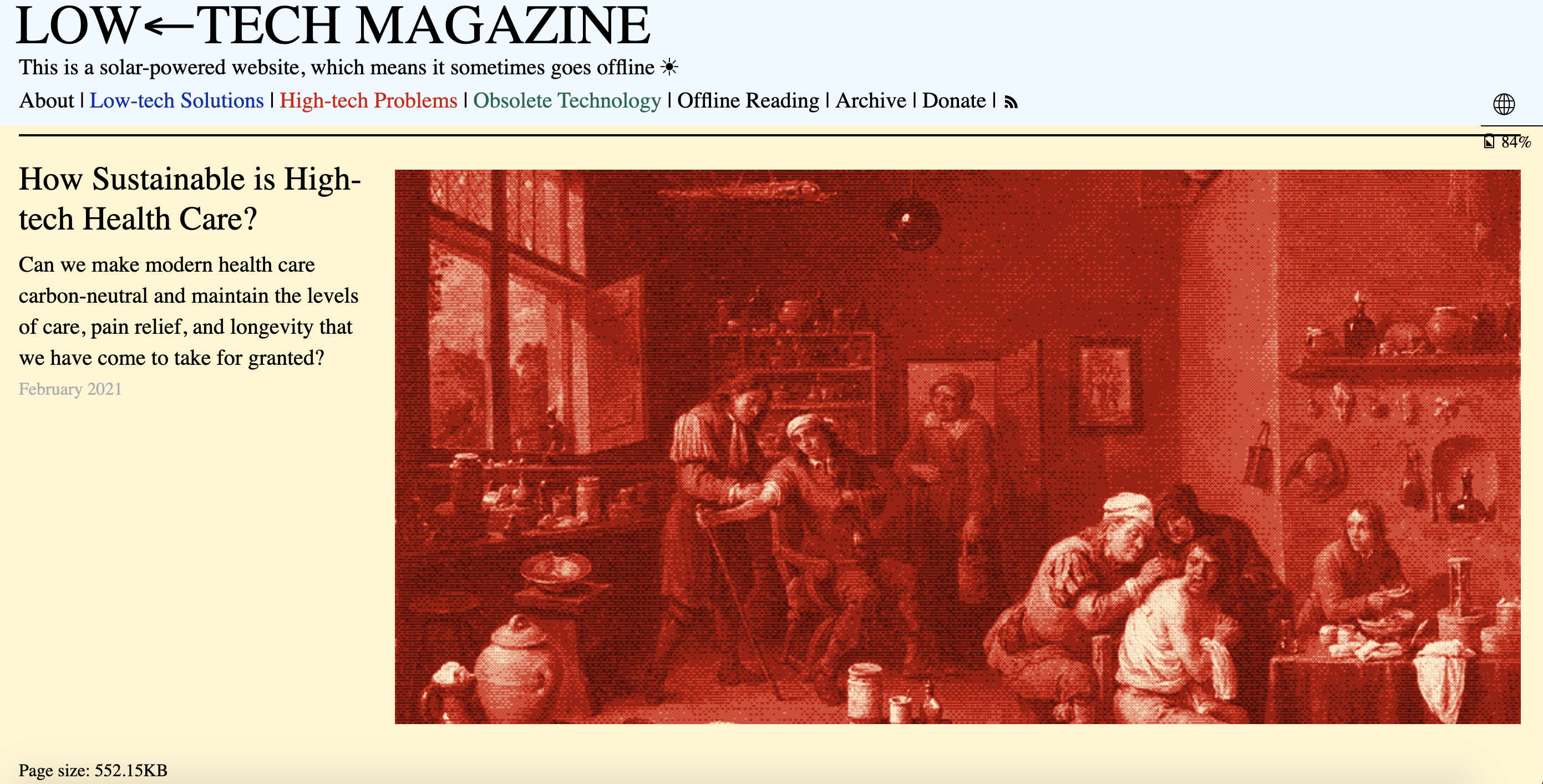 Screenshot of the Low Tech Magazine home page