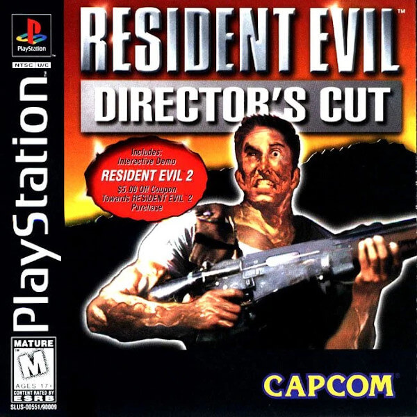 the original box art for the UK release of Resident Evil on the PlayStation, featuring a character that a lot of people assumed is Chris
