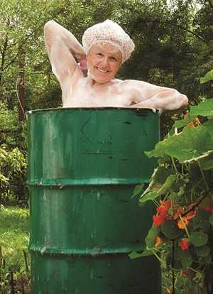General Birthday Card Happy Lady in a barrel
