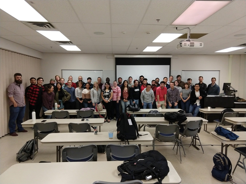 Group of students at the UT Austin boot camp in a classroom