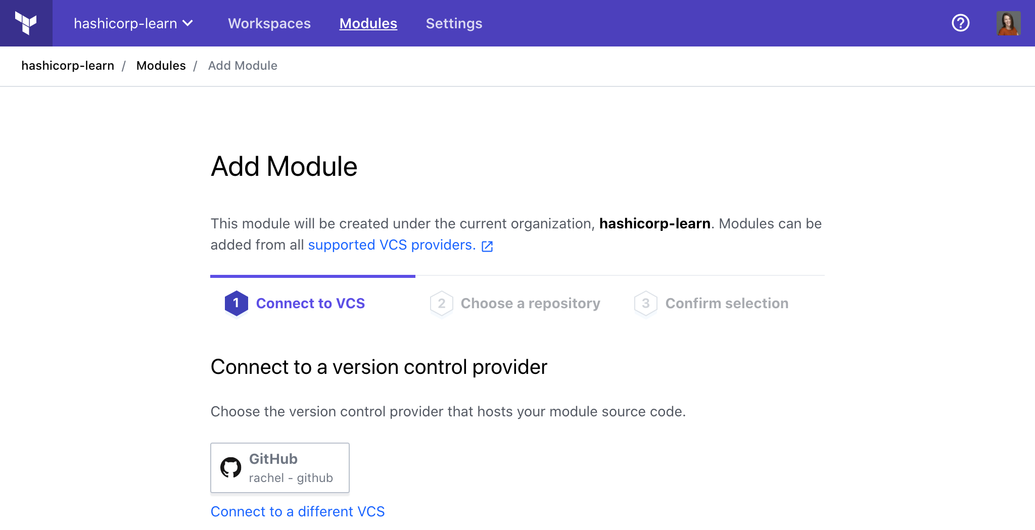 Choose the module from your VCS connection