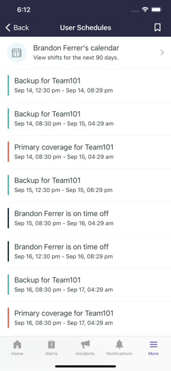 The User schedules page.
