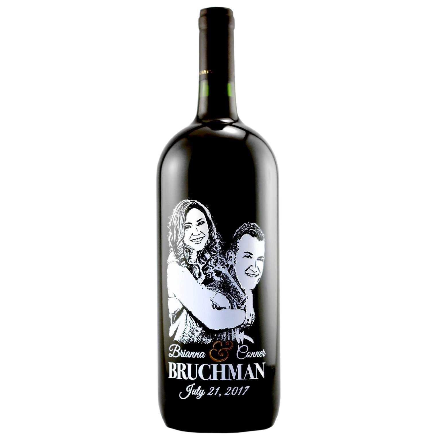 Custom wedding wine bottle