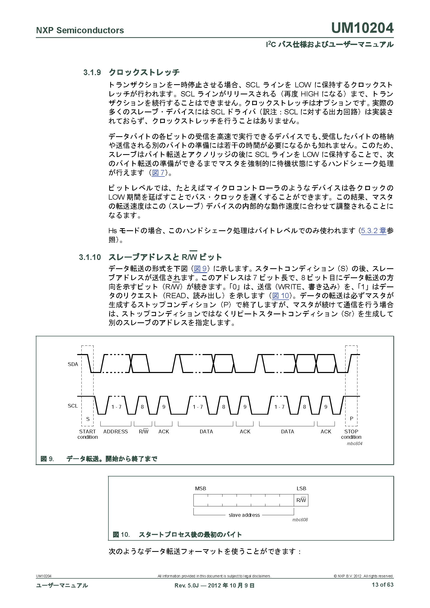 I2C バス仕様およびユーザーマニュアル page.13