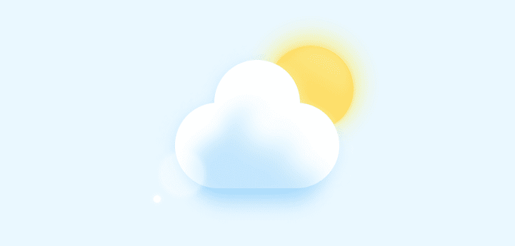 Cloud and sun created in CSS