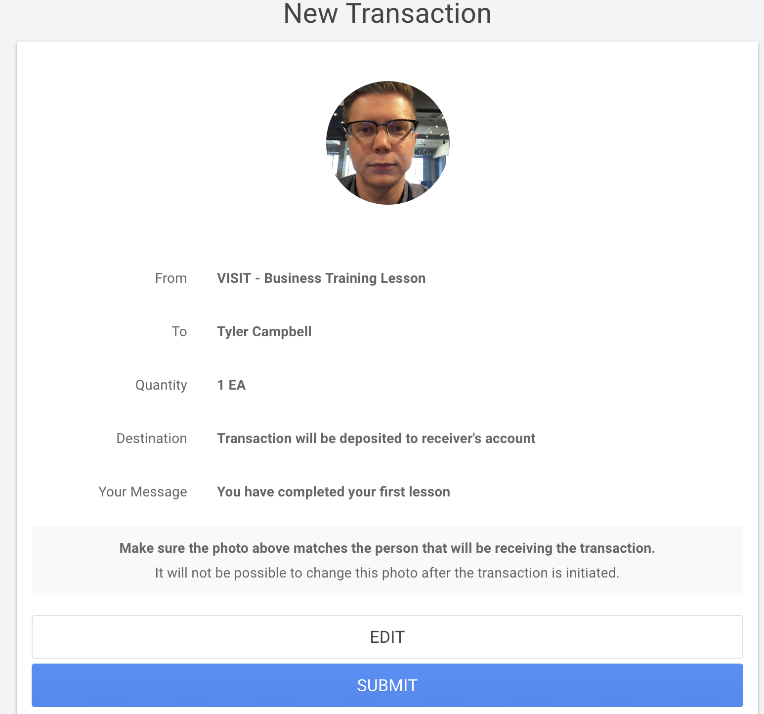 Finalized asset transfer transaction