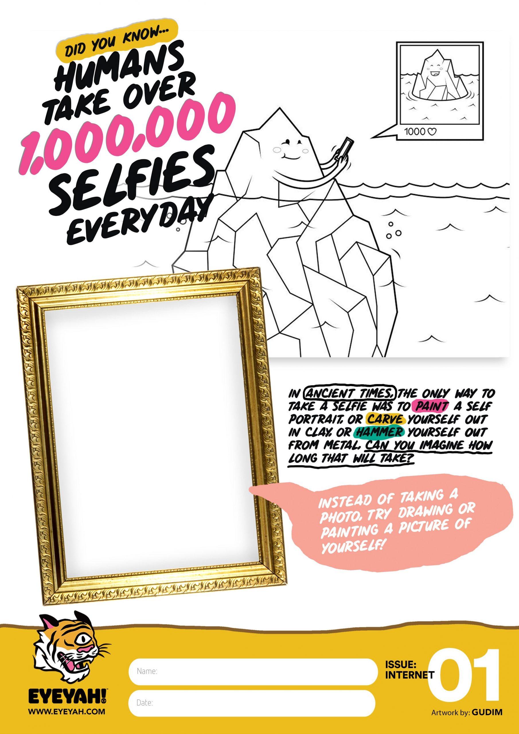 selfies coloured worksheet