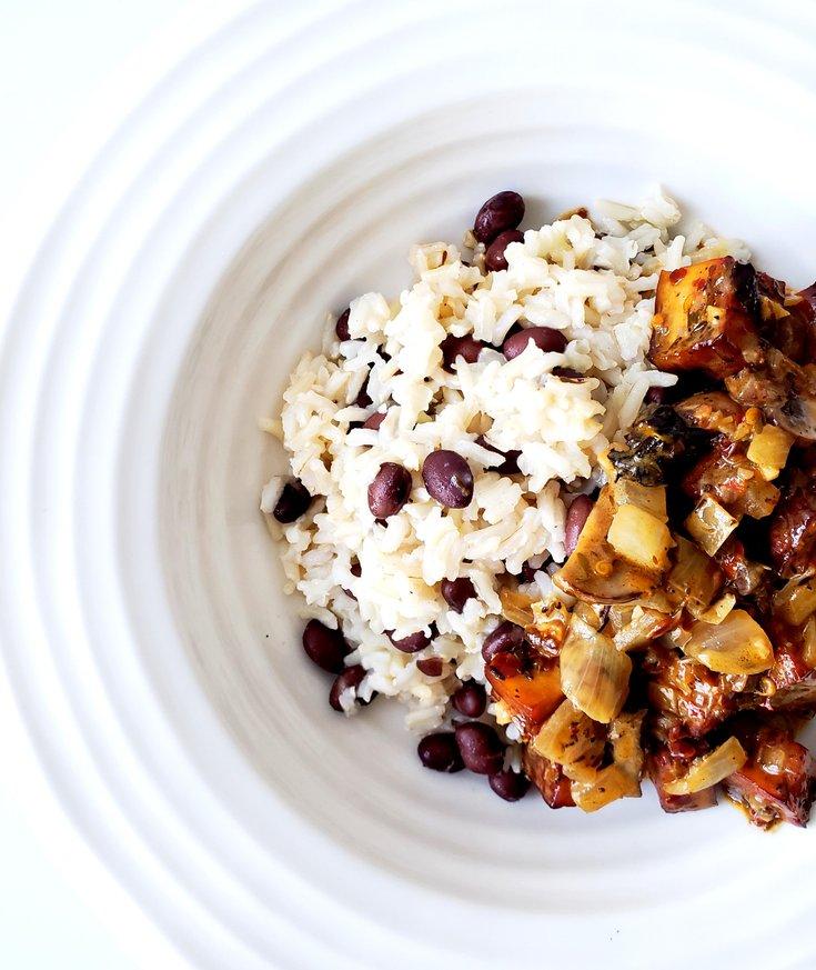 Bowl of Black Bean Rice with Jerk Tofu on Top