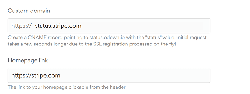 Add Custom domain for status page