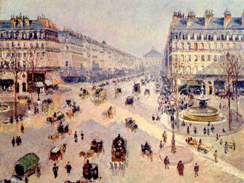 'lace du Théâtre-Francais and the Avenue de l'Opéra, Sunlight, Winter Morning' by Camille Pissarro (1898). A busy modern Paris at the time.
