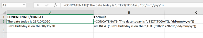 A screen grab from Excel, showing how to use CONCATENATE to make sure dates are displayed correctly