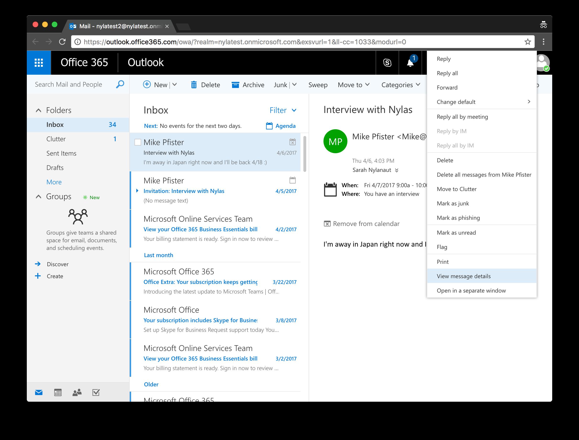 Outlook Message Details
