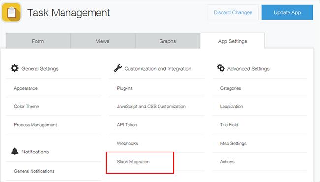 open Slack integration