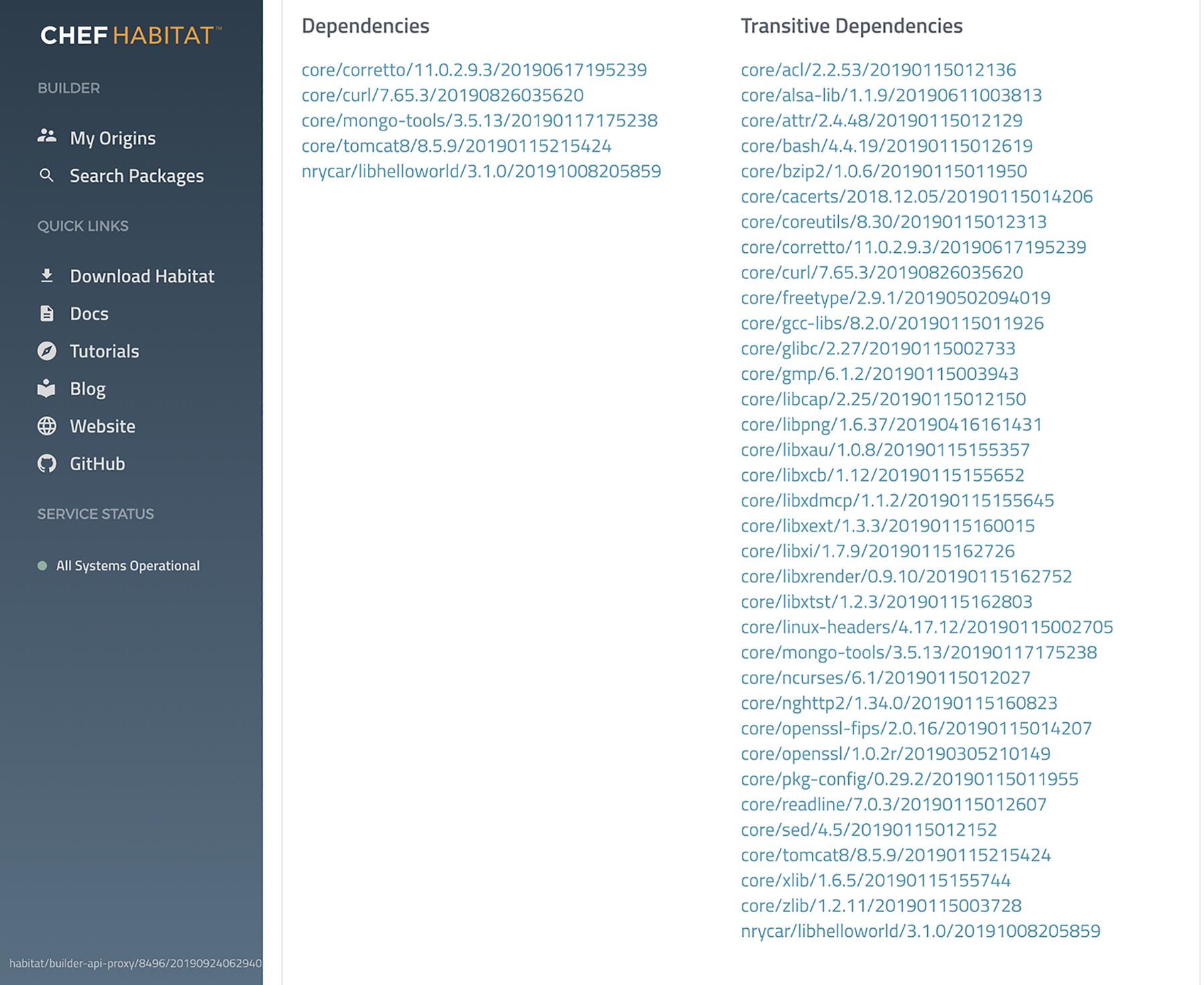 Chef Habitat Dependency Screenshot