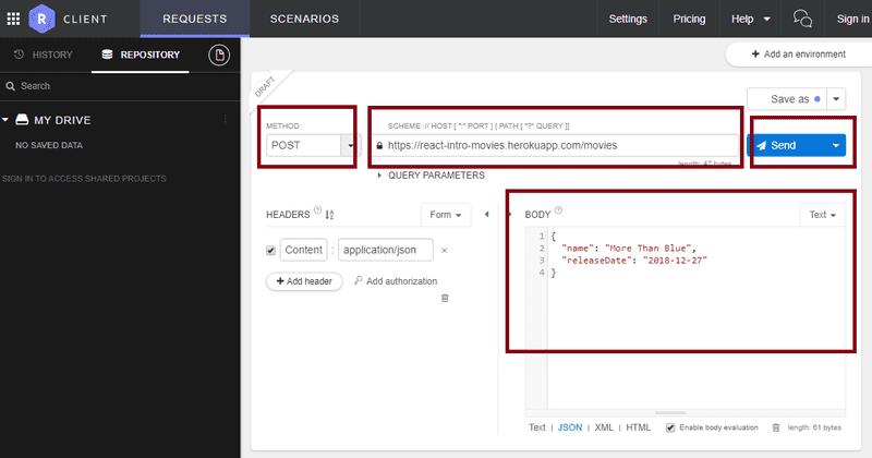 screenshot of Restlet Client