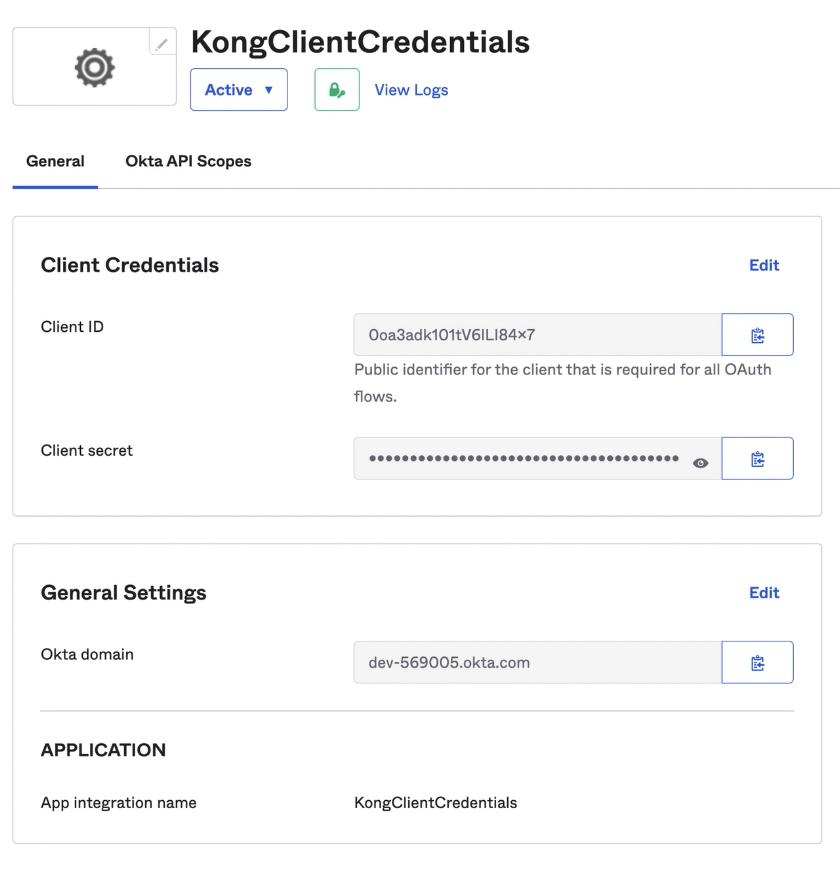 Okta and Kong Introspection Flow App Settings