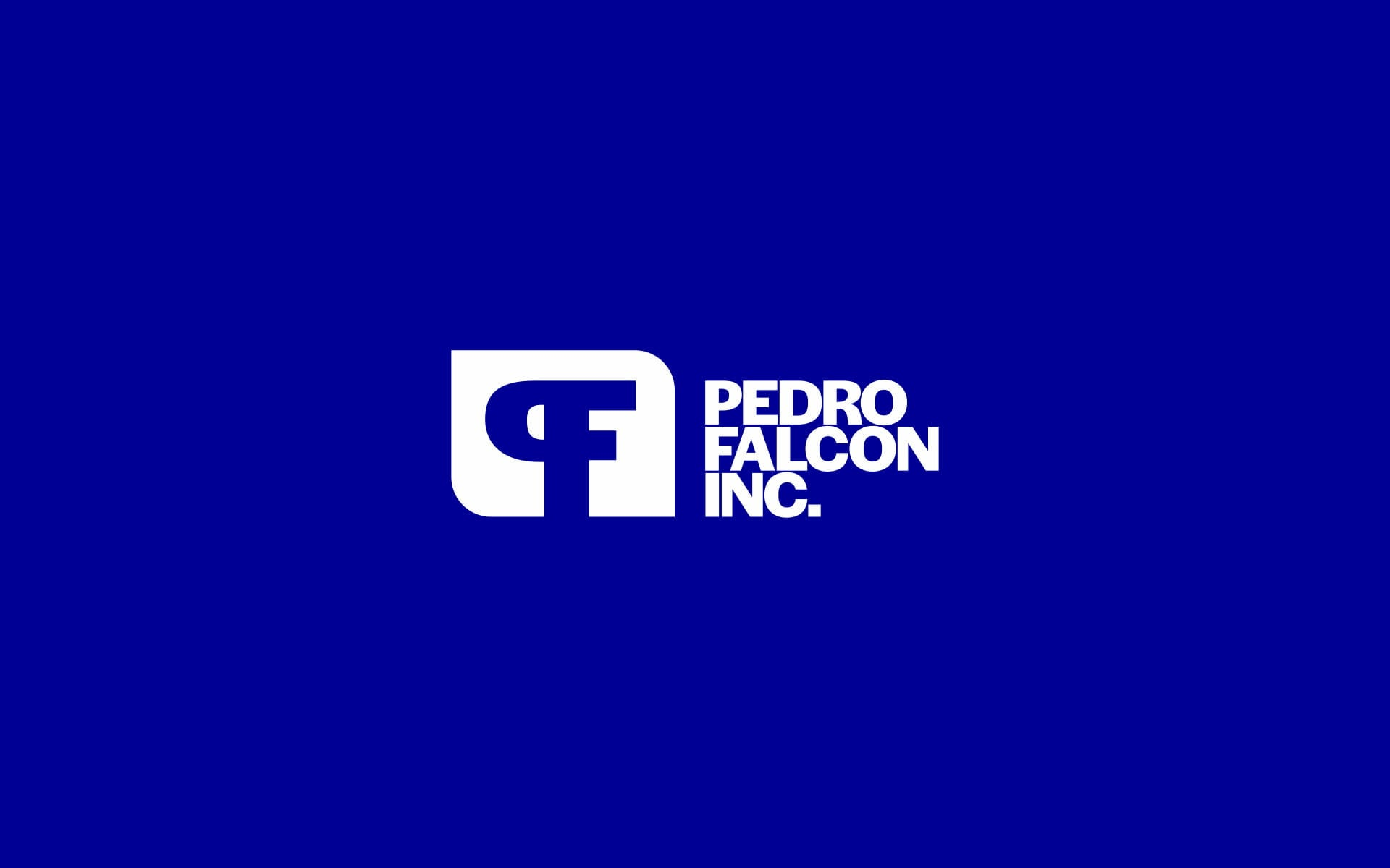 New Pedro Falcon Contractors logo, with a wordmark set in a bold sans-serif typeface