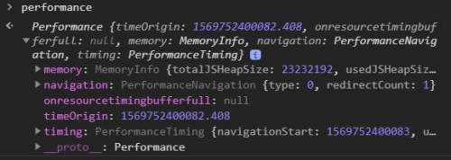 Performance object in browser console