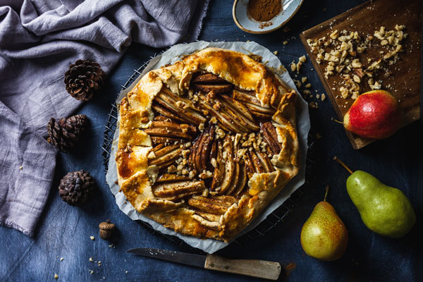 Spiced Pear Galette With Salted Maple Glaze
