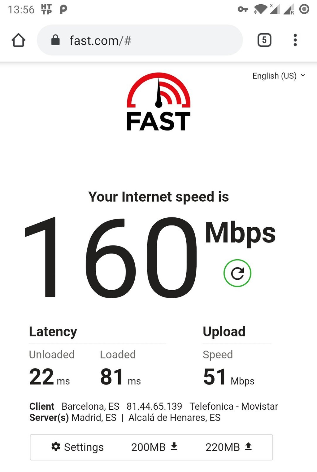 Android speed test screenshot