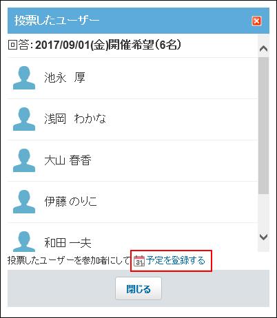 予定を登録するリンクが赤枠で囲まれた画像