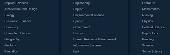 types of services and subjects homeworkmarket.com does
