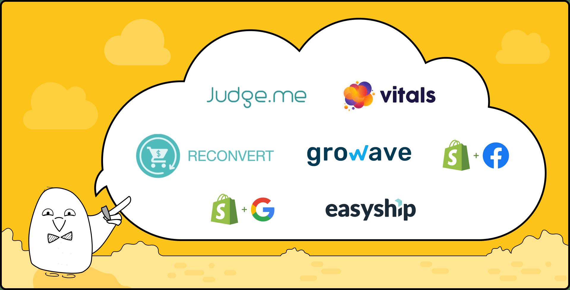 Shopify Apps logos: Judge.me, Vitals, ReConvert, Growave, EasyShip, Facebook channel, Google channel