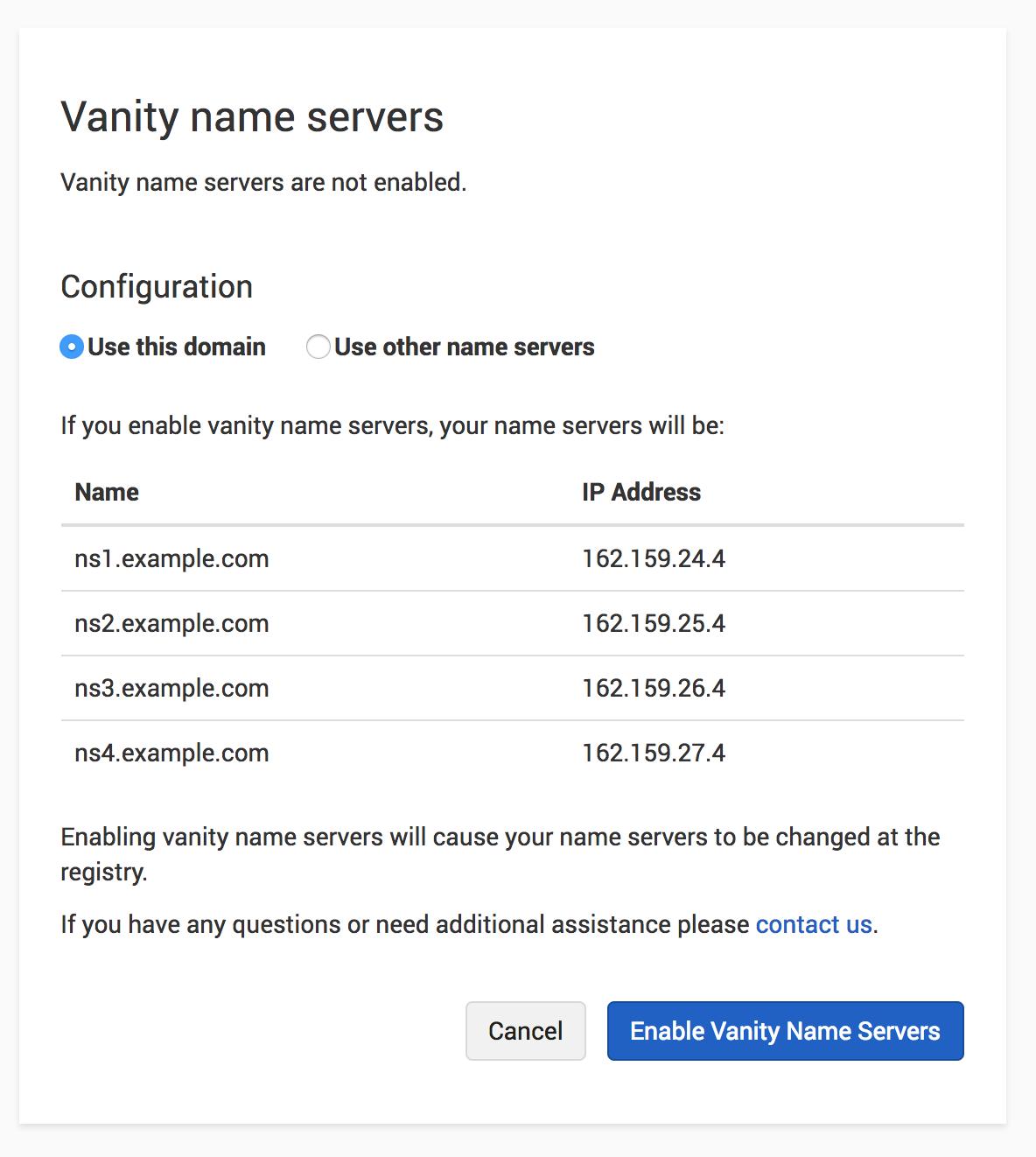 Vanity Name Servers on same domain
