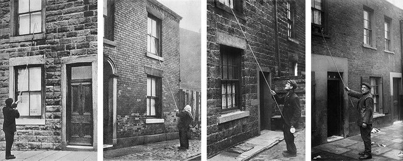 Old photographs of knocker-uppers in front of buildings, using a long stick to knock on the windows