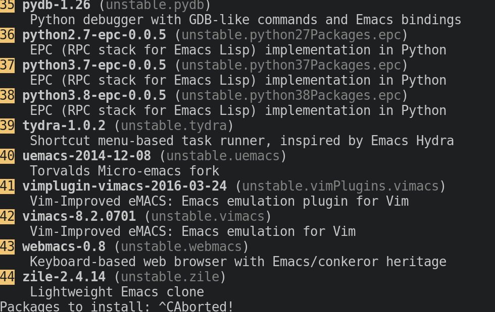 Figure 2: The nox emacs output