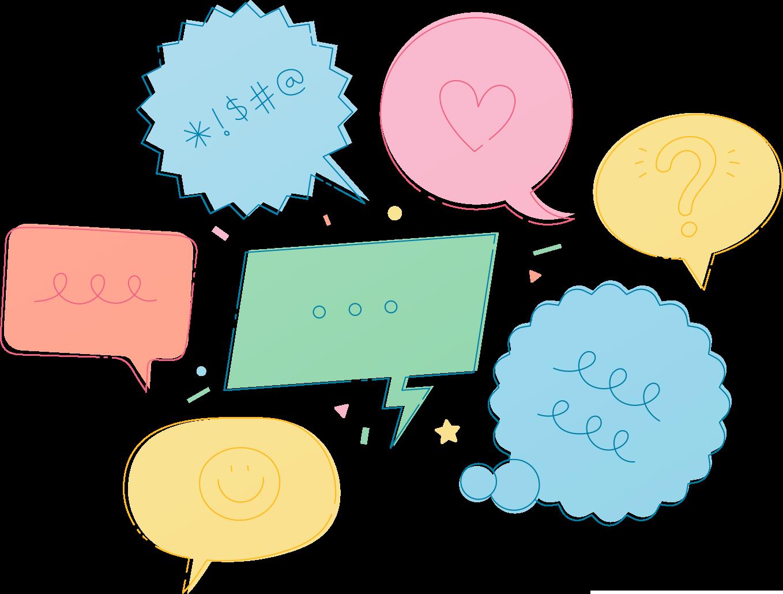 Multiple speech bubbles with random symbols