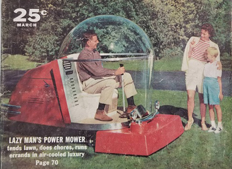an advertisement from 1956 for an air conditioned lawmower