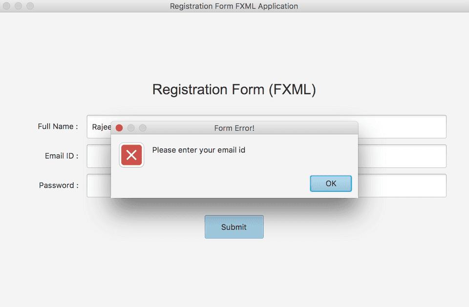 JavaFX FXML registration form GUI error example