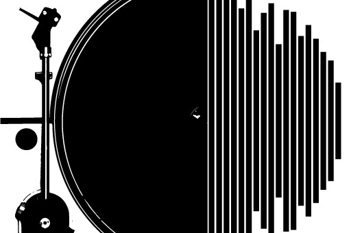 A black and white icon of a record player on the left half joined with sound wave amplitude bars on the right half.