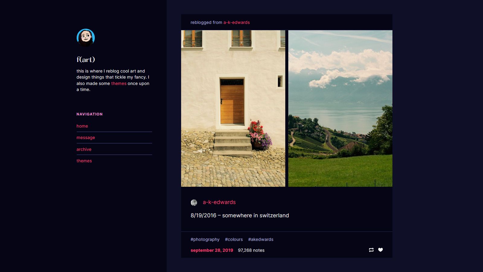 Blog theme with a sidebar.